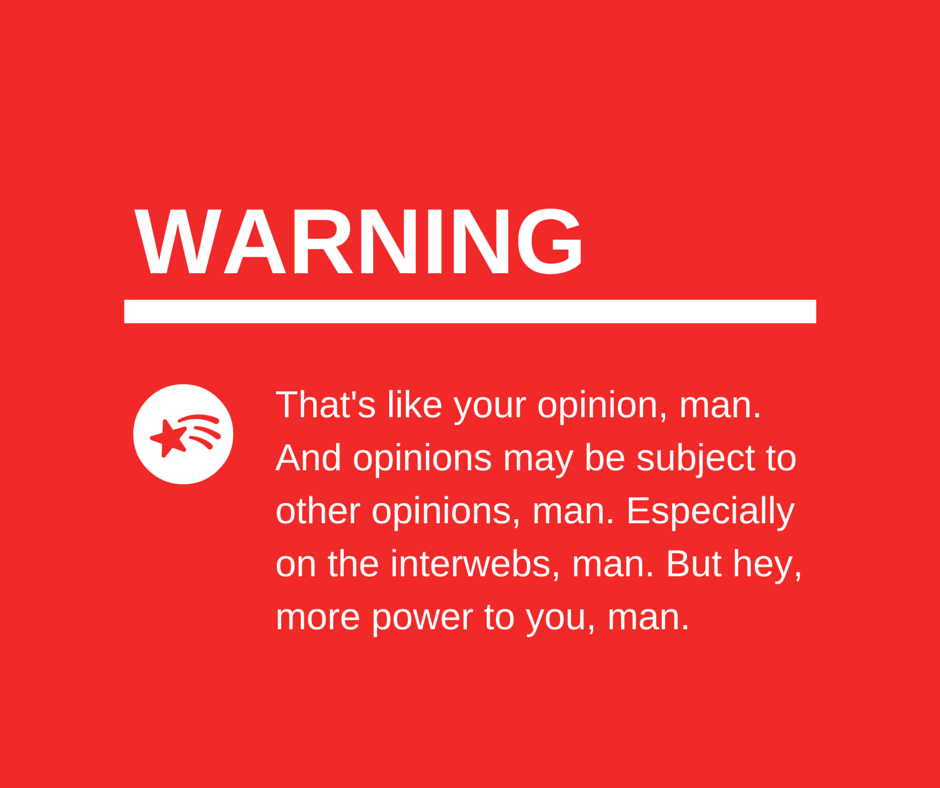 silly warning image about opinions on the internet, man